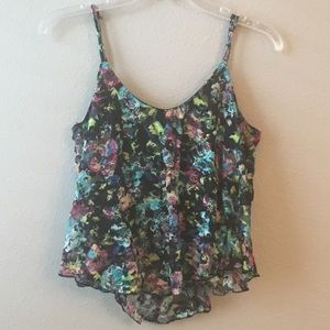 Tops - Almost Famous Floral Lace ruffle top size medium
